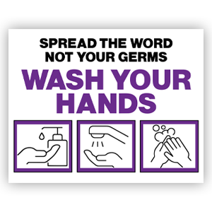 Picture of 14x11 Be Kind Wash Hands Purple